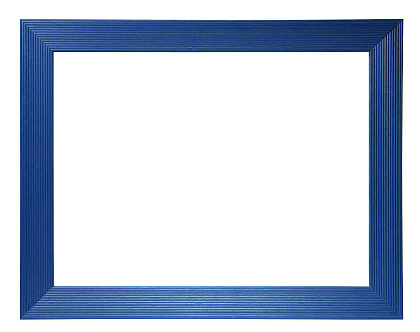 Empty blue frame with white background stock photo