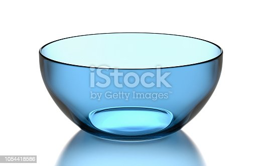 One Single Empty Transparent Blue Glass Bowl on White Background 3D Illustration