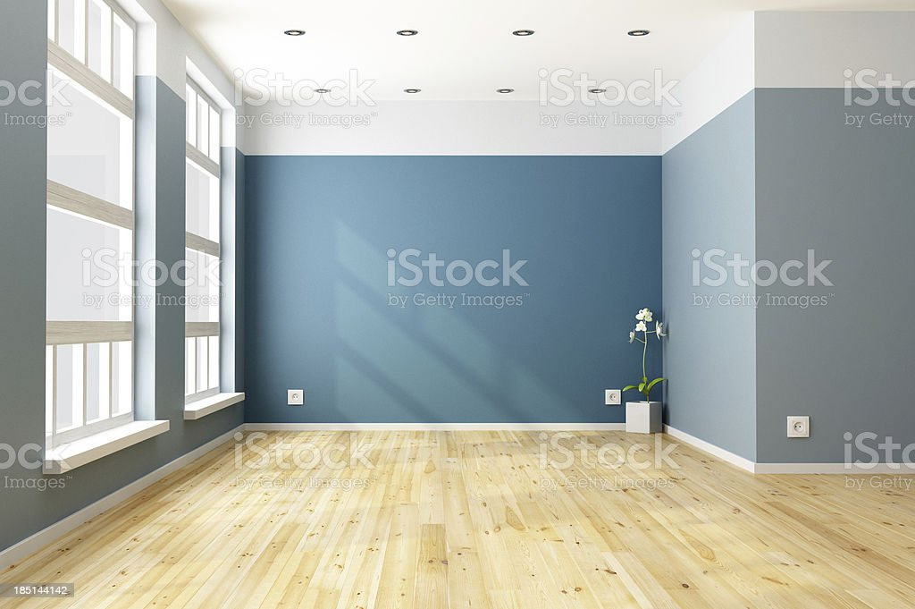 Empty blue living room stock photo