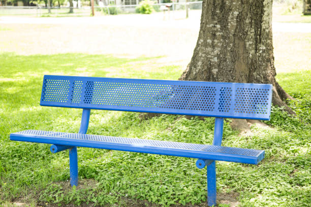 Empty blue park benches in green grass in small park. Blue park benches stand empty during spring and summer in small park in Texas, USA.  Coronavirus has kept children out of parks. covid-19 stock pictures, royalty-free photos & images
