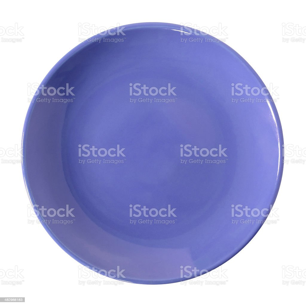 Empty blue plate isolated on white stock photo