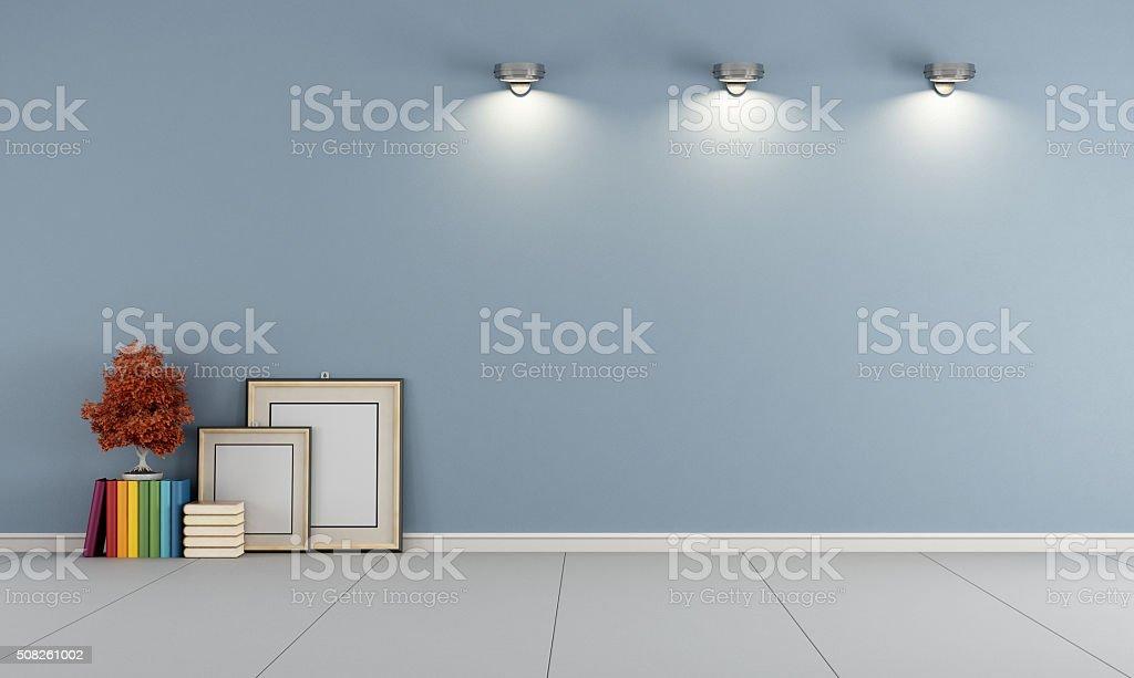 Empty blue room stock photo