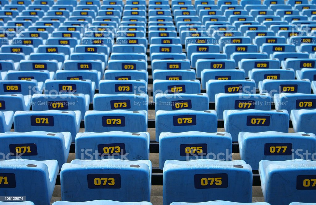 Empty Blue Seats in Stadium royalty-free stock photo