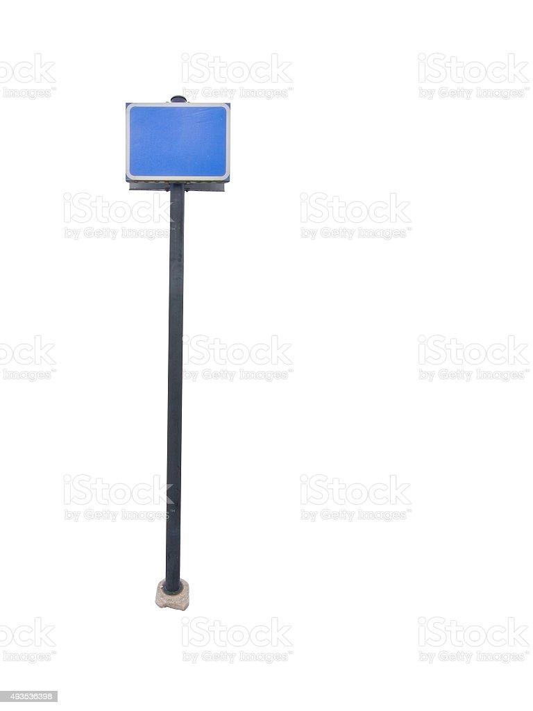 Empty blue sign post stock photo
