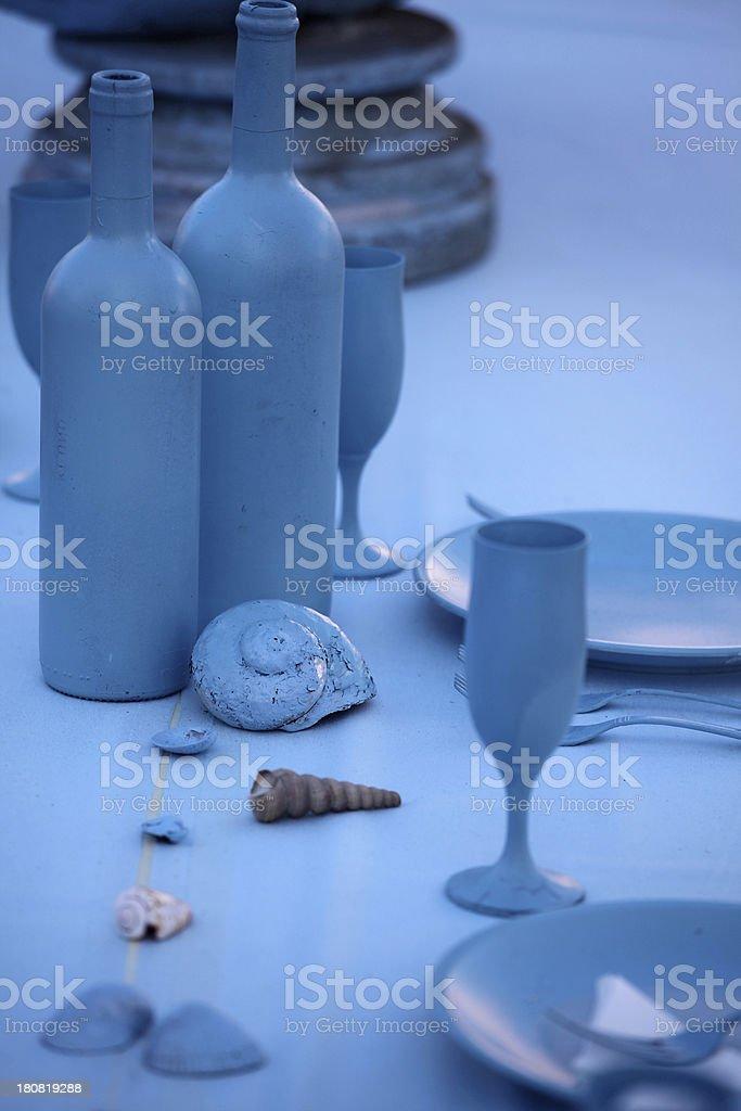 Empty blue toned dishes stock photo