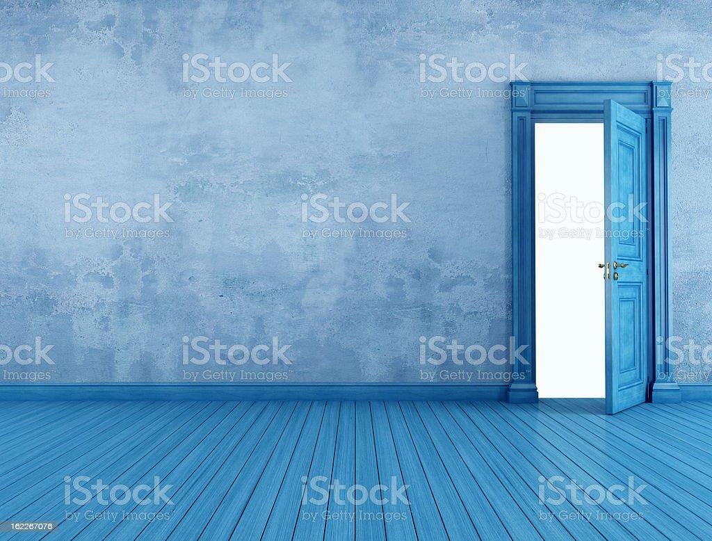 empty blue vintage room stock photo