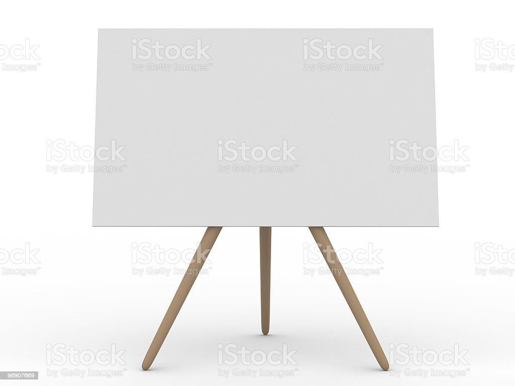 Empty board on white. Isolated 3d image royalty-free stock photo