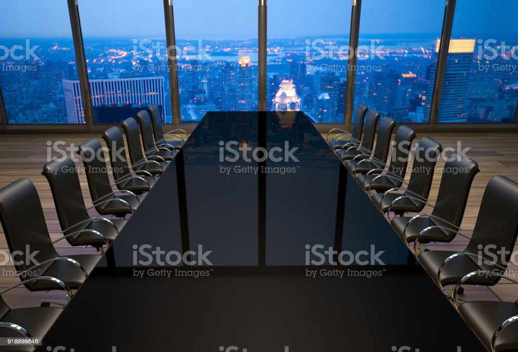 empty boardroom in an office at New York City stock photo