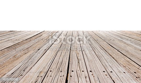 Empty boardwalk on white background.