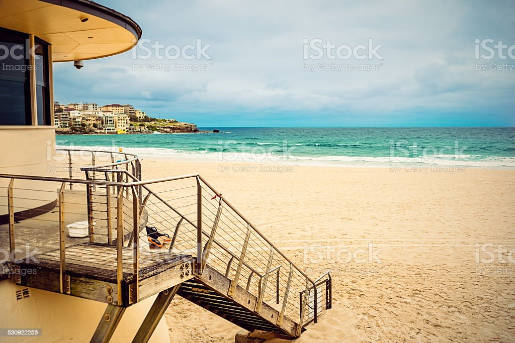Empty Bondi Beach, Sydney stock photo