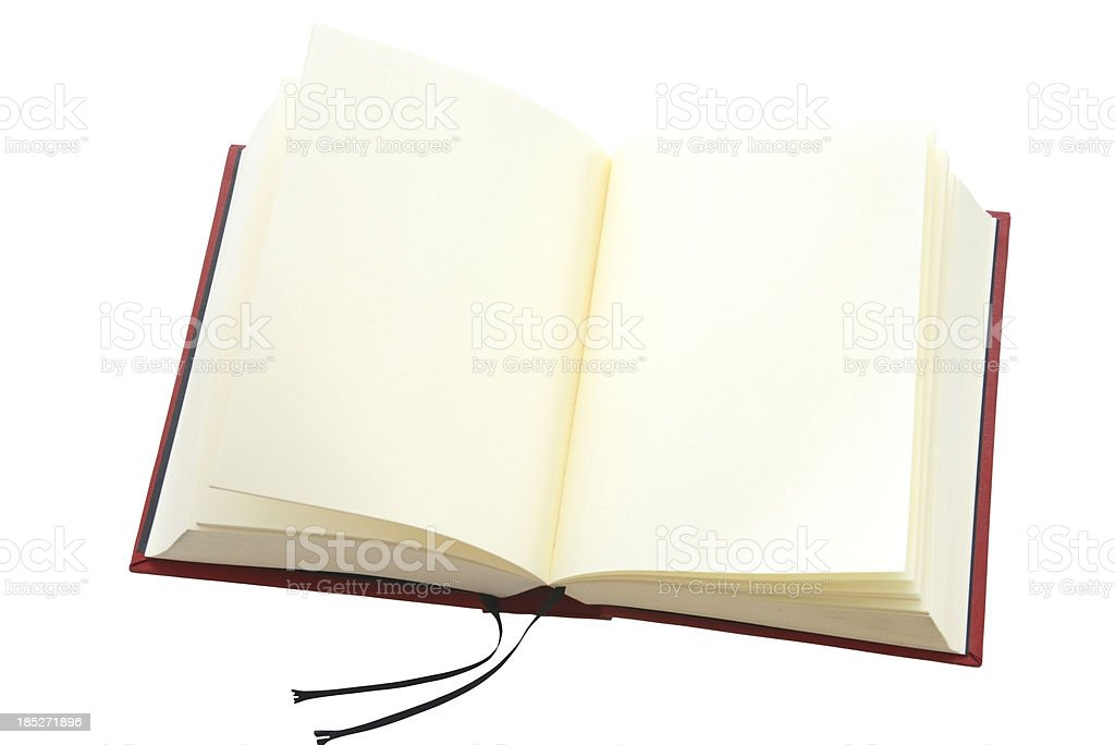 empty book with copyspace on white background stock photo