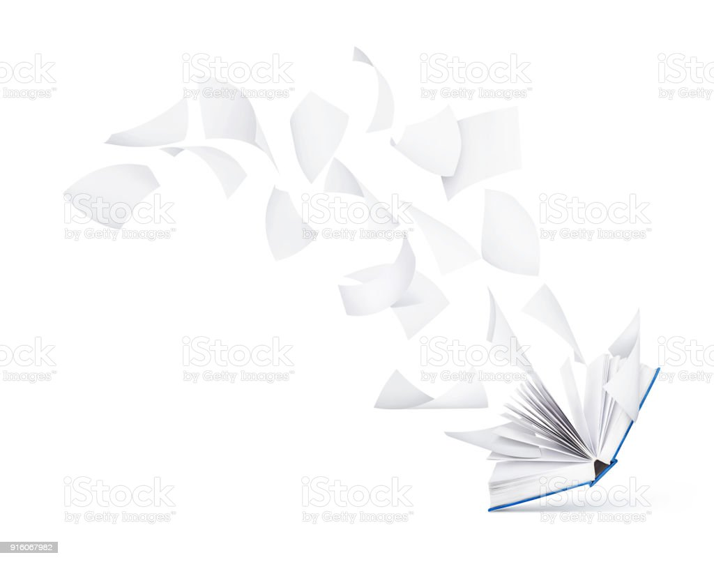 empty book with flying pages isolated on white background stock photo