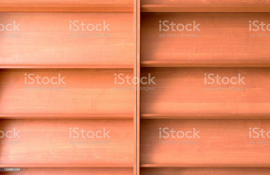 Empty bookshelf stock photo