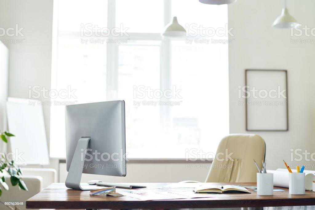 Empty boss office stock photo