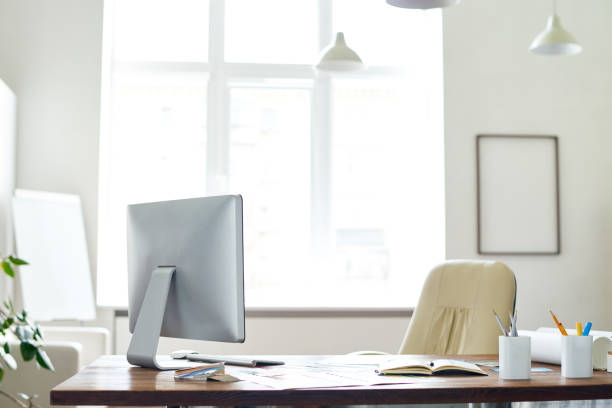 empty boss office - office desk stock photos and pictures