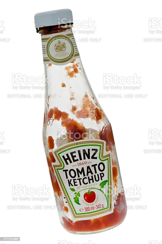 Empty Bottle of Heinz Tomato Ketchup stock photo