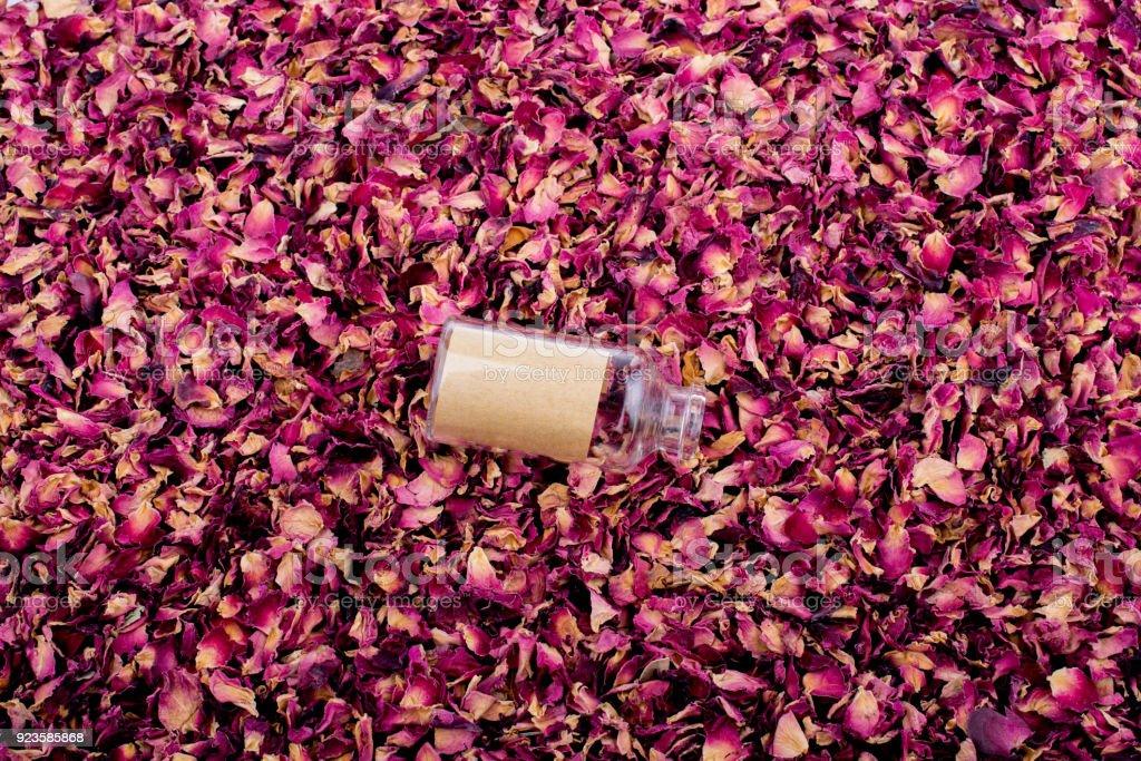 Empty bottle on dry rose petal background stock photo