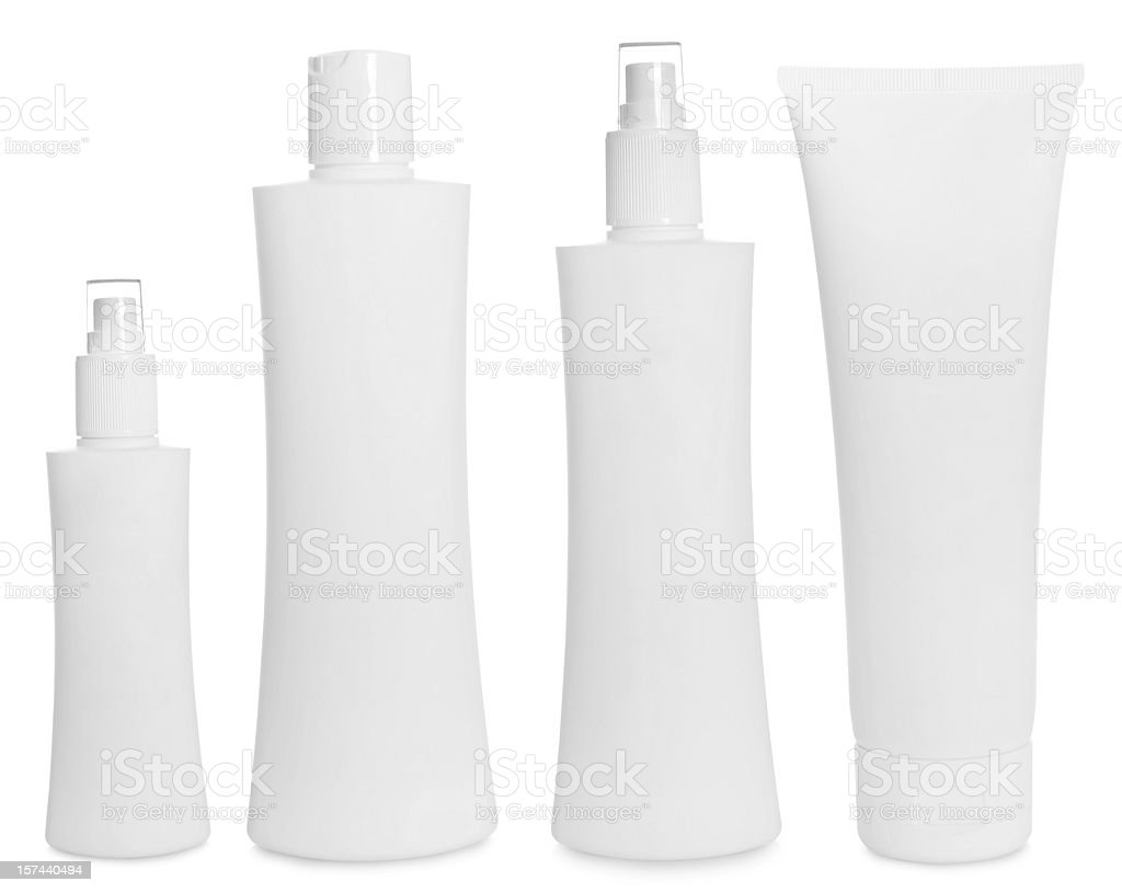 Empty bottles for hair care products stock photo