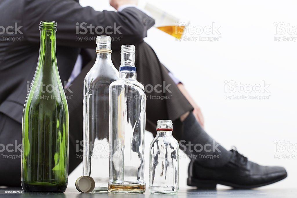 Empty bottles of alcohol royalty-free stock photo