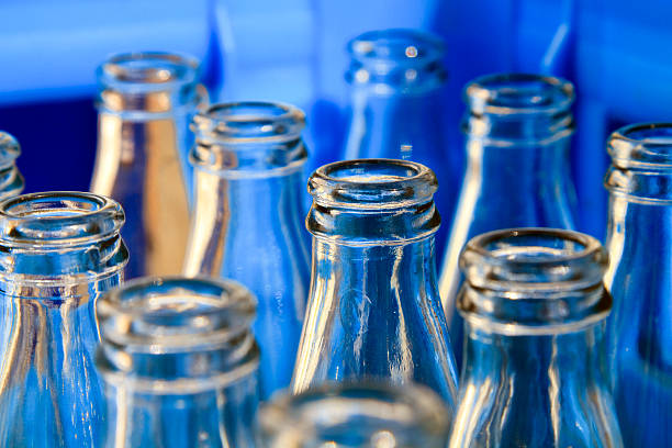 empty bottles - bottling plant stock photos and pictures