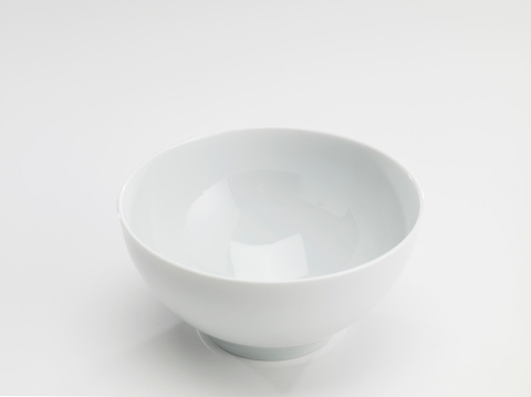 Looking down empty pie bowl on white background