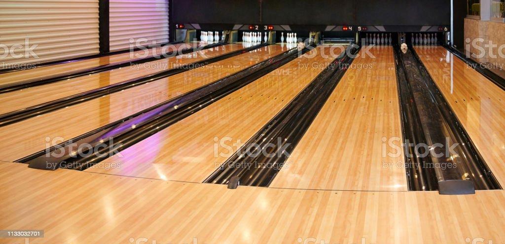 Empty bowling lane stock photo
