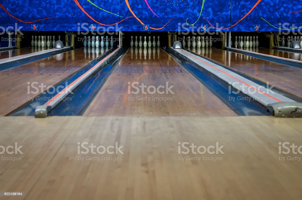 empty bowling tracks bowling stock photo