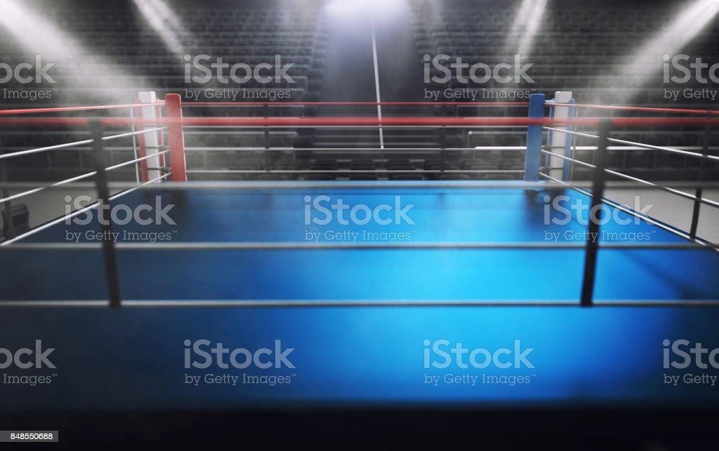 Empty boxing ring in arena, spot lights, smoke and dark night scene - foto stock