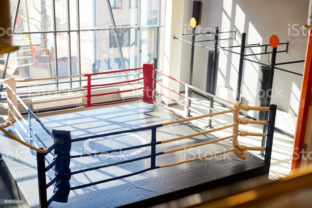 Empty Boxing Ring in Fight Club stock photo