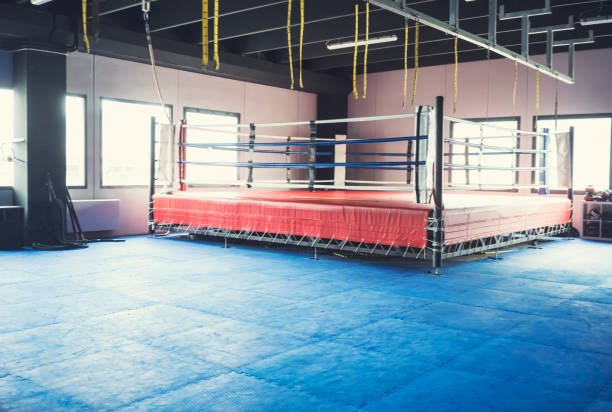 Empty Boxing Ring in healthy club gym stock photo