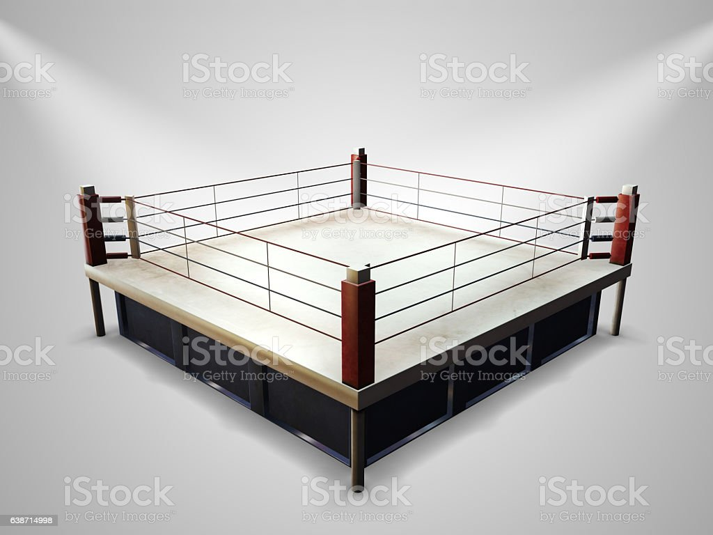 Empty boxing ring stock photo