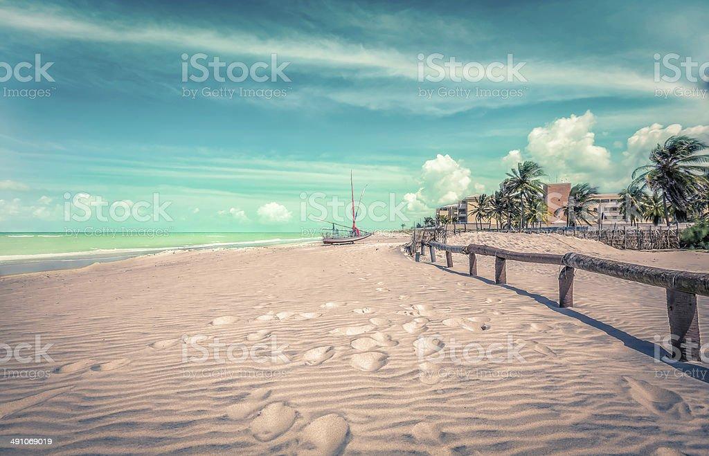 Empty Brazilian beach with turquoise ocean stock photo