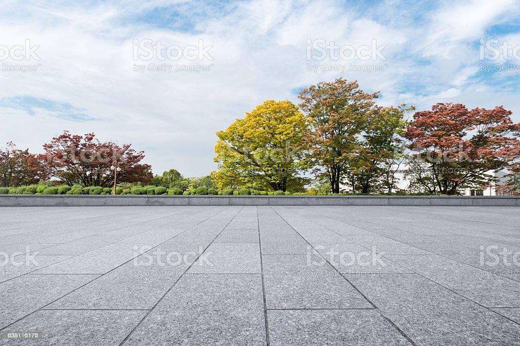 empty brick floor near park in cloud sky