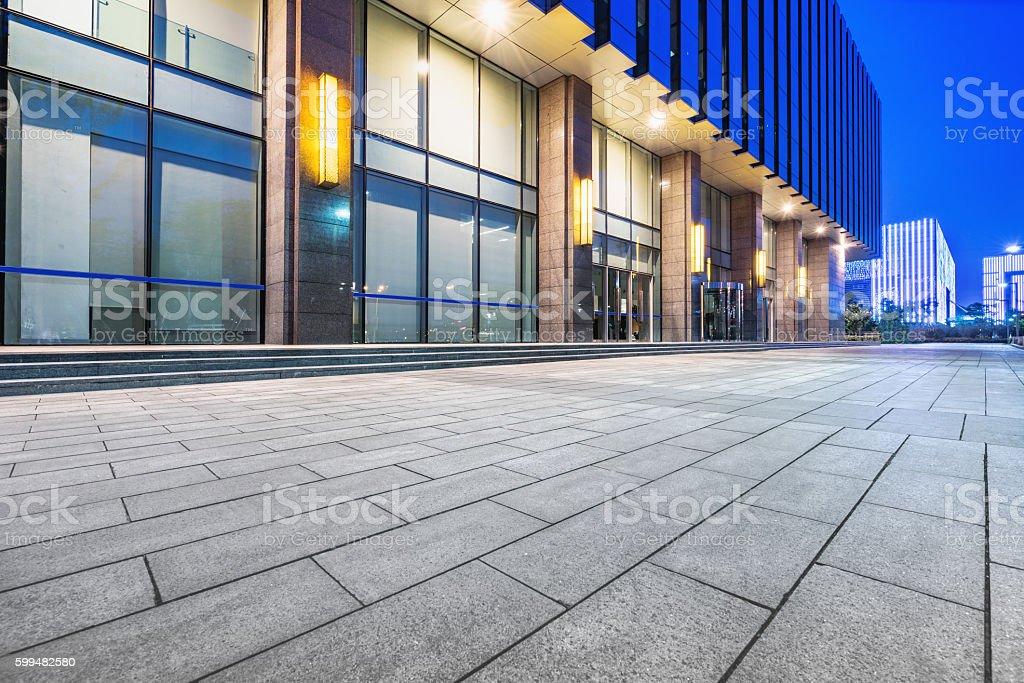 empty brick floor with cityscape and skyline - Photo