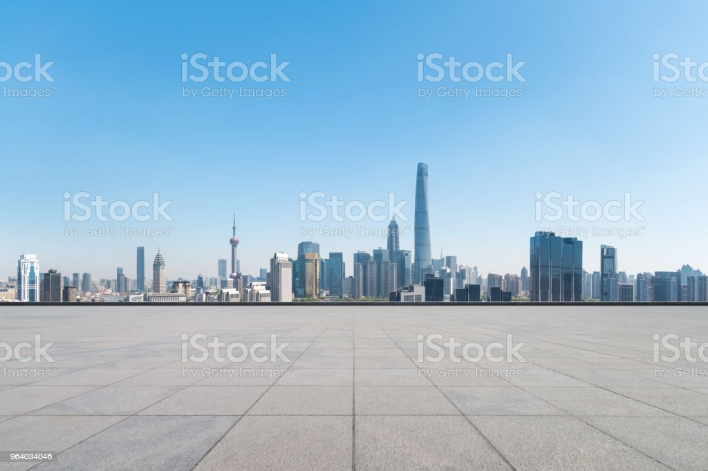 empty brick floor with modern metropolis cityscape - Royalty-free Architecture Stock Photo