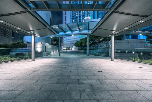 empty brick pedestrian walkway at night,Hong Kong.
