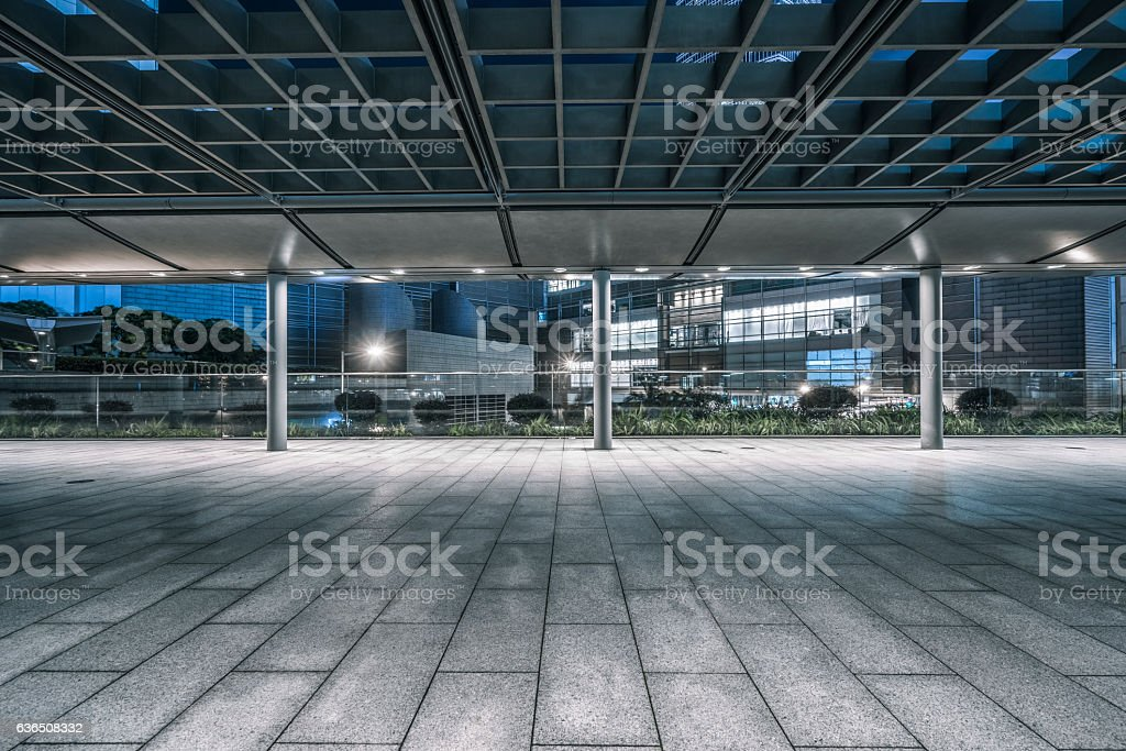 empty brick pedestrian walkway at night stock photo