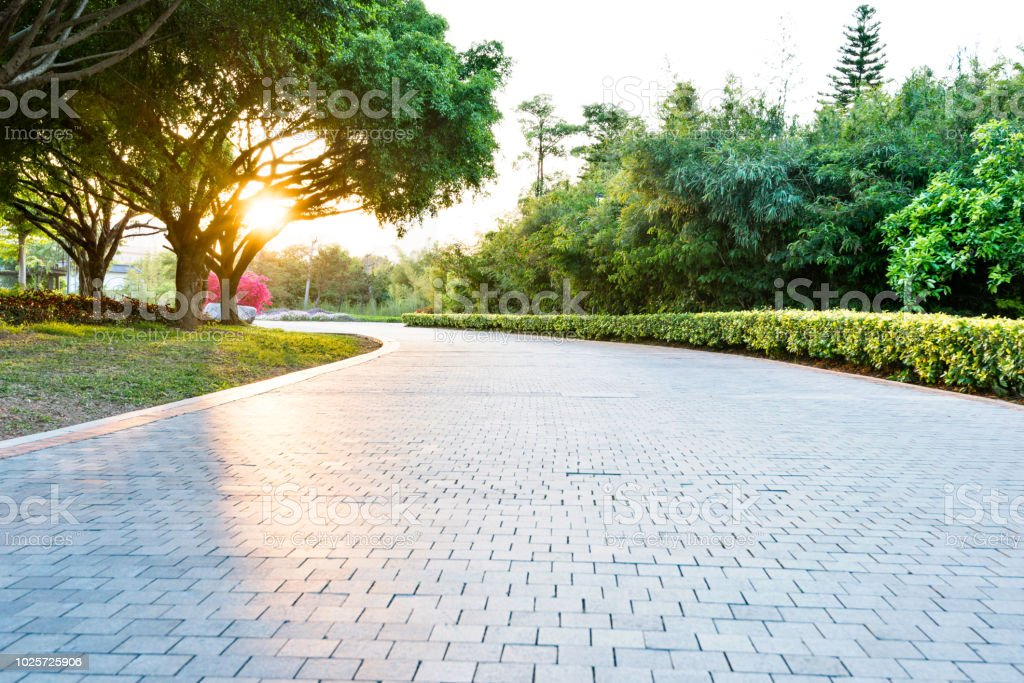 Empty brick road in the park stock photo