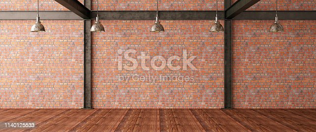 Empty Brick Wall. 3D Render
