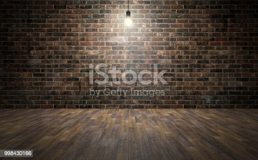 istock Empty brick wall room with wooden planks floor and lightbulb. 3d rendering 998430166