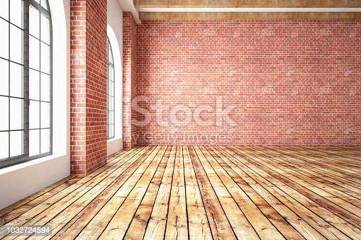 istock Empty Brick Wall with Wooden Interior 1032724894
