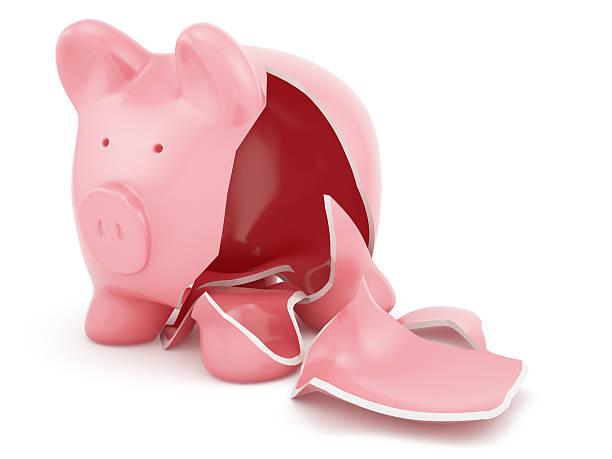 Empty broken piggy bank stock photo