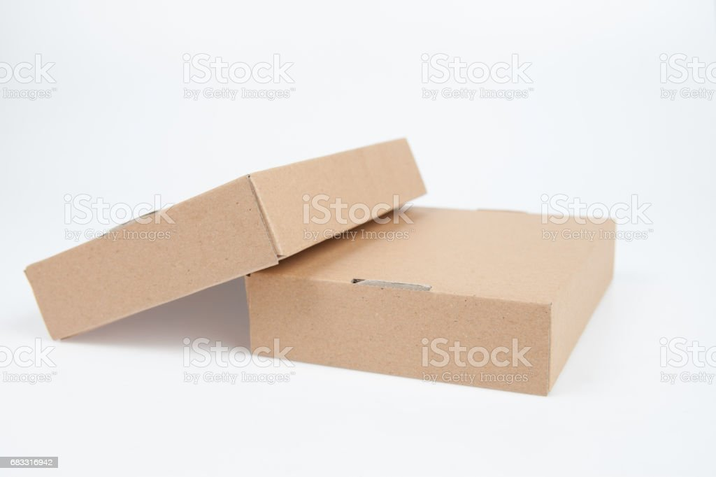 Empty brown cardboard paper box isolated on white background foto stock royalty-free