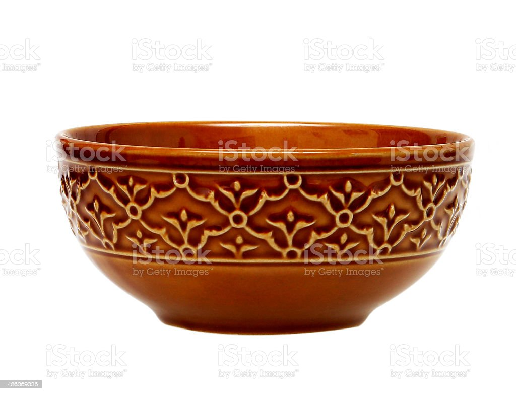 Empty brown clay bowl isolated on white stock photo