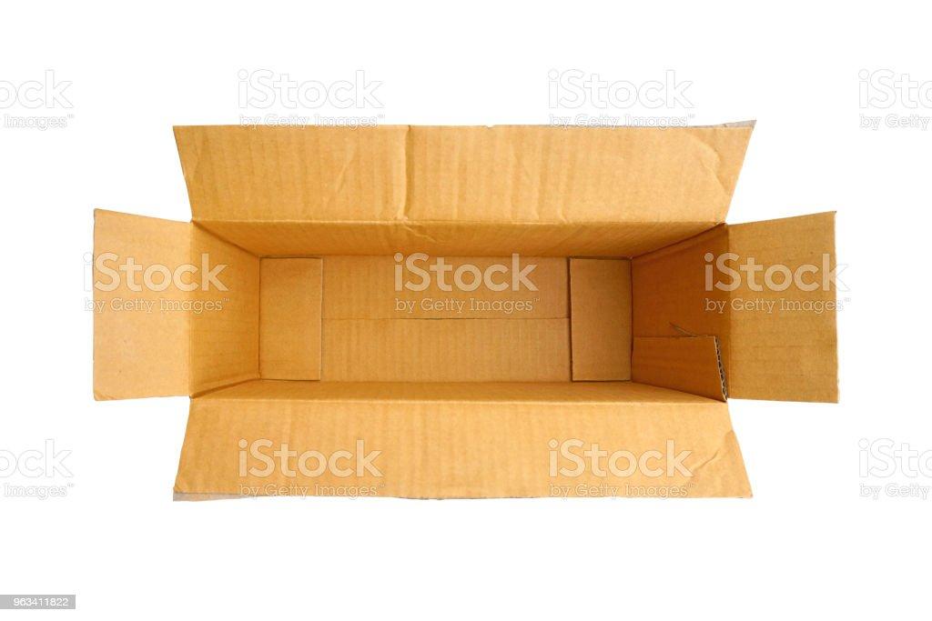 Puste brązowe pudełko papieru na białym tle - Zbiór zdjęć royalty-free (Bez ludzi)