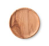 空のブラウンの木製プレート、クリッピングパス