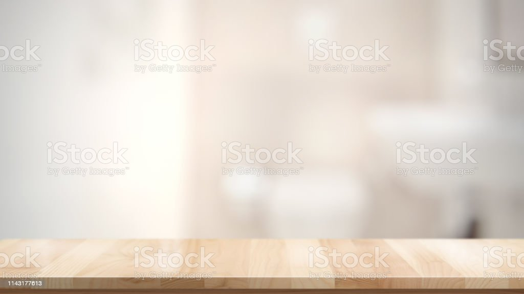 Empty brown wooden table in bathroom for product display montage