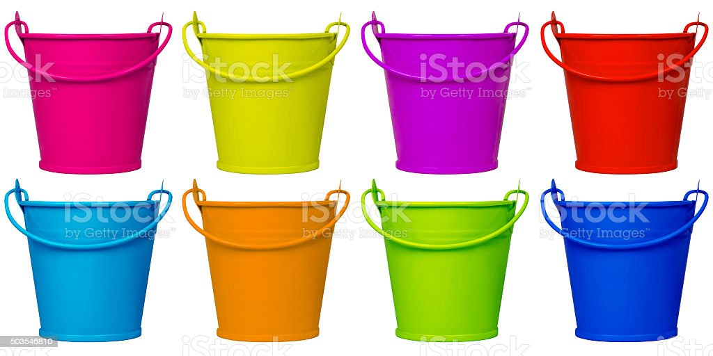 Empty buckets - colorful stock photo