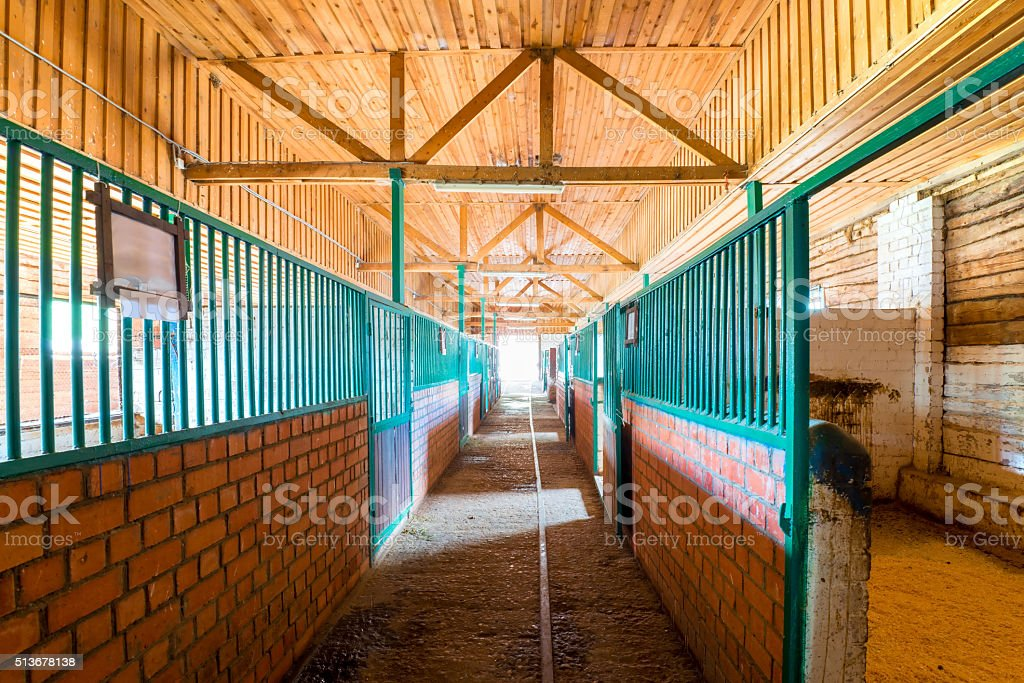 empty building stable in the countryside stock photo