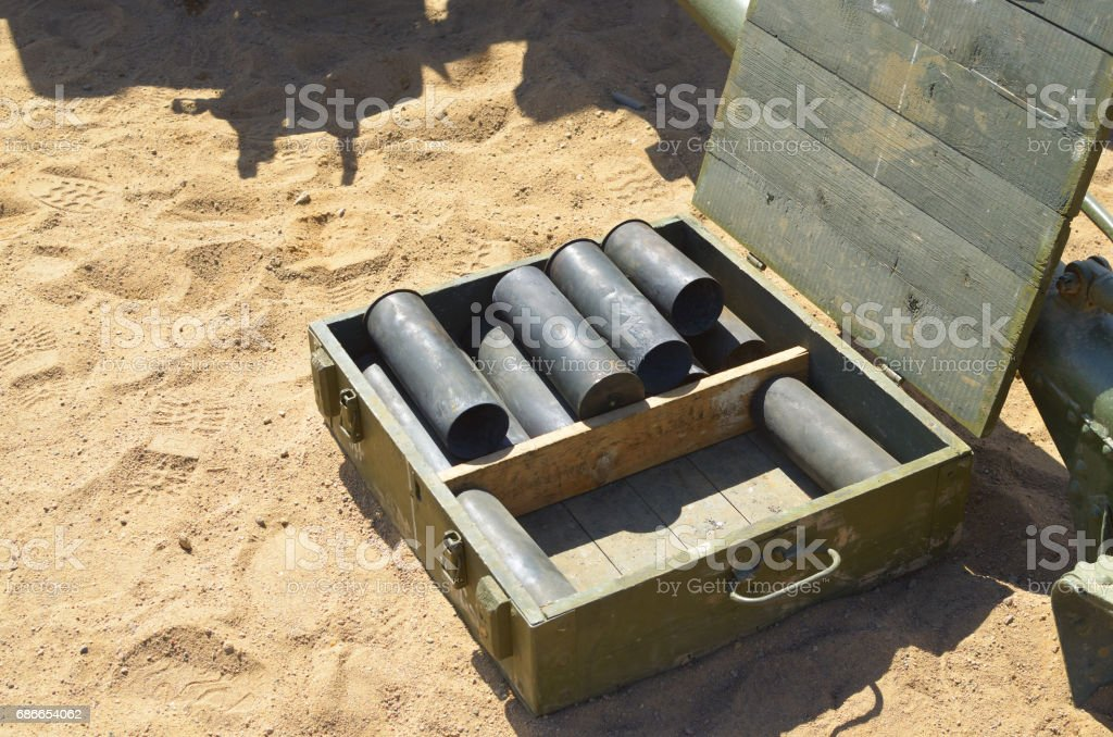 Empty bullet casings from the shells. royalty-free stock photo